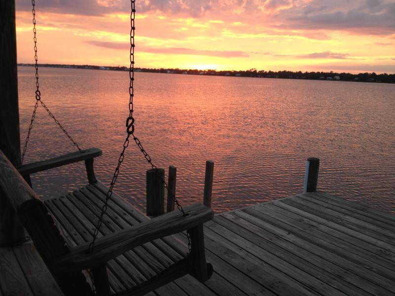 Sunset over Little Lagoon from the private pier - Waterfront Home- Private Pier!  Walk to the beach! - Gulf Shores - rentals