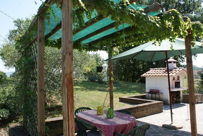 Dining al fresco (pizza oven in distance) - Casa Chiocciola Country House: Amandola, Italy - Amandola - rentals