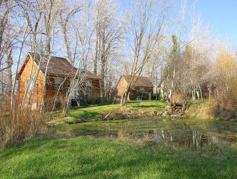 Cabin from lower pond - Deep Creek Guest Cabin - Livingston - rentals