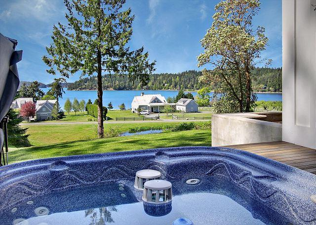 Relax in the hot tub and take in the views of Westcott Bay - Cape Cod style home with Hot Tub and views Near Roche Harbor! - Friday Harbor - rentals