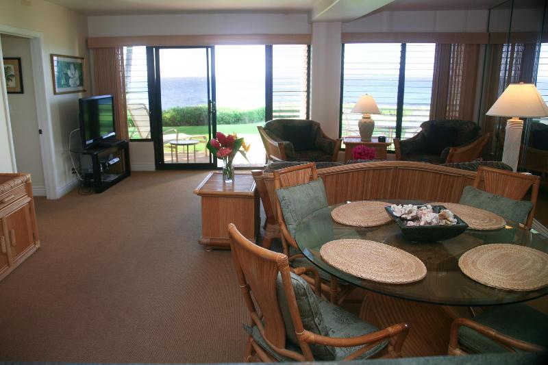 Comfortable dining, inside or out! - Poipu Shores 104A, Deluxe Oceanfront, 2BR Condo - Poipu - rentals
