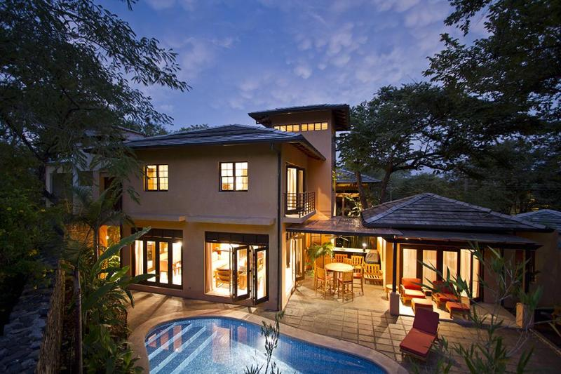 Home and Pool in Early Evening - Stunning, New 3-Bedroom Home on the Point - Tamarindo - rentals