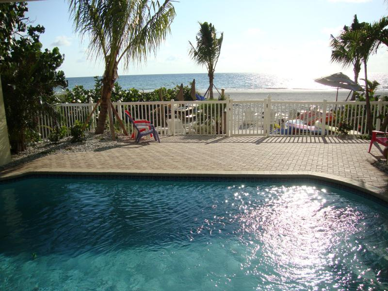 "Sparkling beachfront pool - shared by all 5 bungalows - BEACHSIDE BUNGALOW 1BR ""Lobster Shack"" Heated Pool - Indian Shores - rentals"
