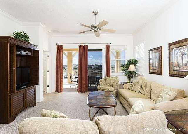 Beautifully decorated living room with lake views - 1045 Cinnamon Beach, 4th Floor, Elevator, Wifi, new HDTV - Palm Coast - rentals