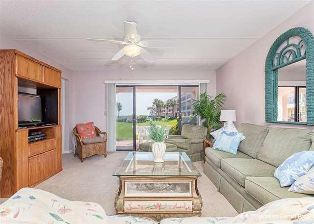 Our 1st floor living room opens to the patio with ocean view - Sea Place 13137, Ground Floor, Pool, Tennis, & Beach - Saint Augustine - rentals
