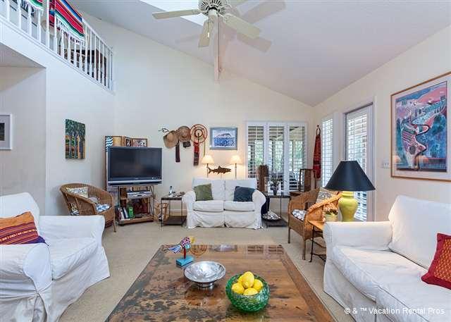 Enjoy our open living room with flatscreen HDTV - Fisherman's Cove 11 Waterfront Condo, Sawgrass, Ponte Vedra FL - Ponte Vedra Beach - rentals