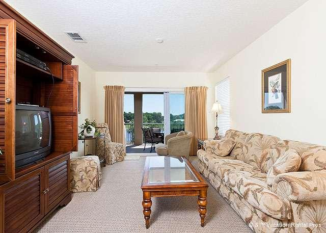 The living room is a beautiful spacious gathering spot. - Canopy Walk 635, 3rd Floor, Intracoastal View, new HDTV - Palm Coast - rentals