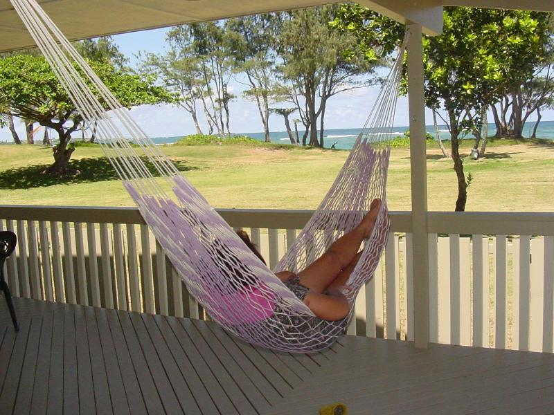 Enjoy great ocean and park views from the deck (hammock not provided) - Beautiful Home on a White Sandy Beach - Laie - rentals