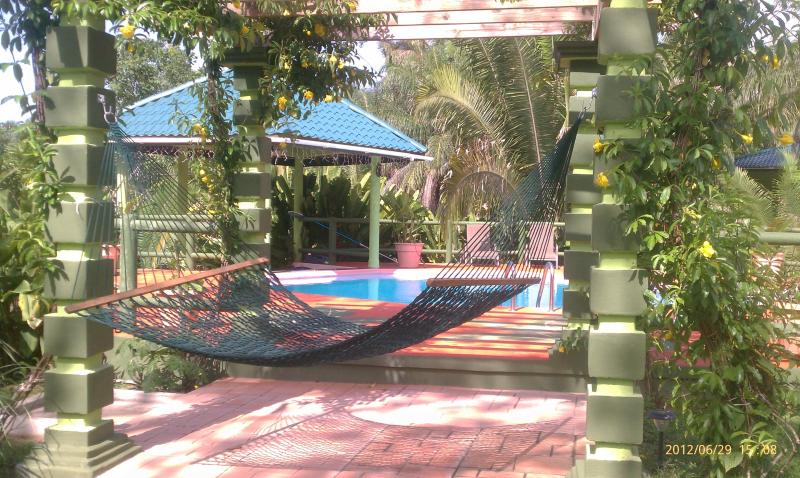 Hammock under the trellis by the pool - Inn the Bush Eco-Jungle Lodge Belize - San Ignacio - rentals