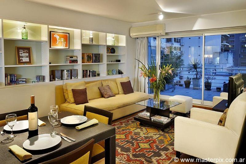 Comfortable living room opens to terrace - Palermo Gem w/Terrace near Parks - Buenos Aires - rentals