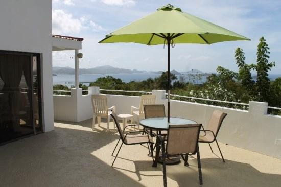 Private courtyard offers ocean views, BBQ grill, and seating/lounging areas - Sunset Ridge Villa A - Saint John - rentals