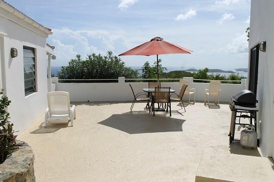Private courtyard offers ocean views, BBQ grill, and seating/lounging areas - Sunset Ridge Villa D - Saint John - rentals