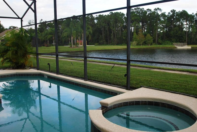 POOL SIDE WITH WATER VIEW - Stunning Lake View 7 Bedroom Home with a Hot Tub - Kissimmee - rentals