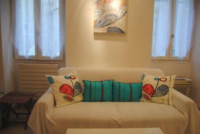 the comfortable sofa bed - Le Suquet 2 Bedroom Apartment, in Center of the Old Town of Cannes - Cannes - rentals