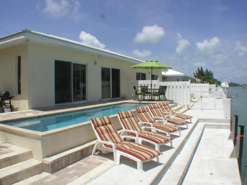 LG. Heated Pool out back with view of waterway - Casa Mar Azul 3 - WiFi - Pool - Walk to Inch Beach - Key Colony Beach - rentals