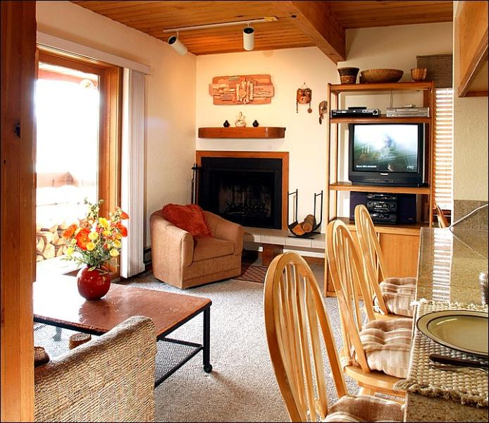 Wood-Burning Fireplace and TV in the Living Room (Representative Unit) - Wood Creek Condominium - Wonderful Year-Round Getaway (1132) - Crested Butte - rentals