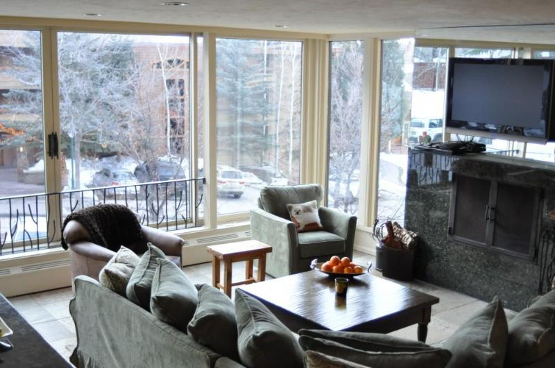 Living Room, Fireplace, Flatscreen - Durant 101B - Ski In/Out Panoramic  Mountain Views through floor to ceiling glass windows - Aspen - rentals