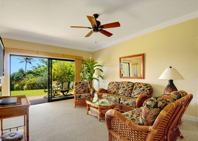 Living Room - Oversized lanai overlooking Shipwrecks beach - Koloa - rentals