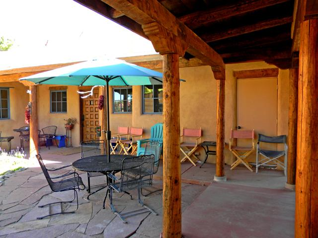 Front portal, patio dining and lots of covered lounge area - Alfred's Compound - Taos - rentals