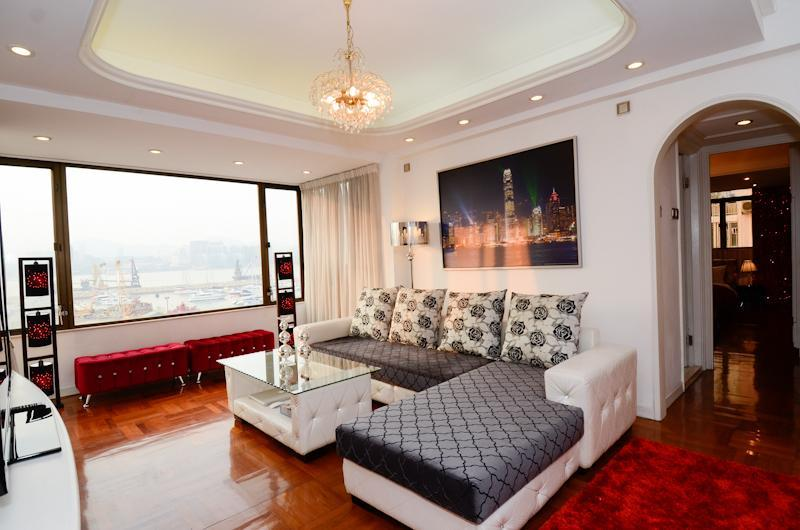 Huge living room with full Victoria Harbor View - Harbor View Rental with Superb Service in Hong Kong - Hong Kong - rentals