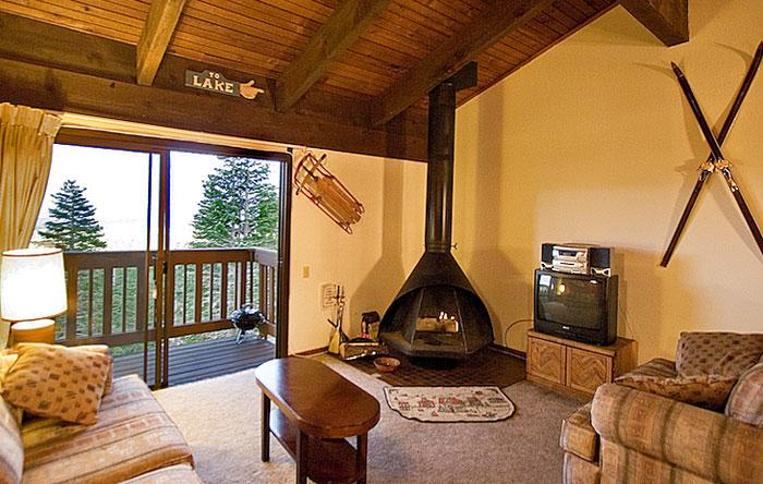 Mammoth Point #110 Living Area With A Wood Burning Fireplace And A Double Sofa Bed - Mammoth Point 110 - Mammoth Condo Near Canyon Lift - Mammoth Lakes - rentals