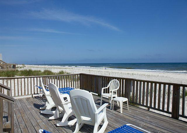 View of Beach From Lower Deck - 'Change of Pace' *  Spring Break Family Discounts - Private Beach in Backyard - Gulf Shores - rentals