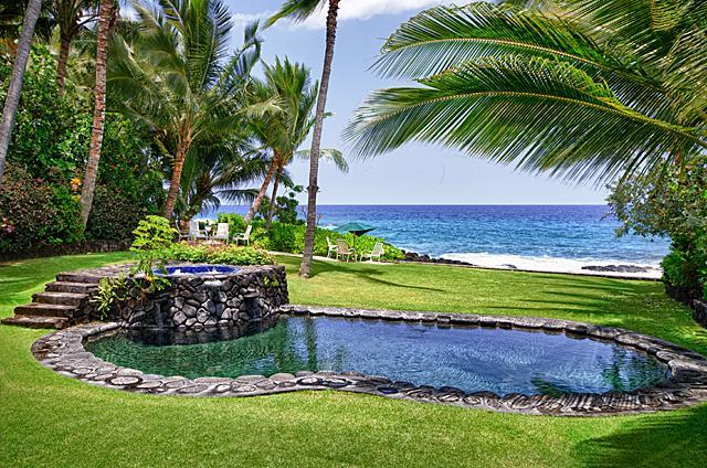 Oceanfront Pool, Jacuzzi, beach chairs with 4 units - Kona Beach Bungalows - 5 homes - Kailua-Kona - rentals