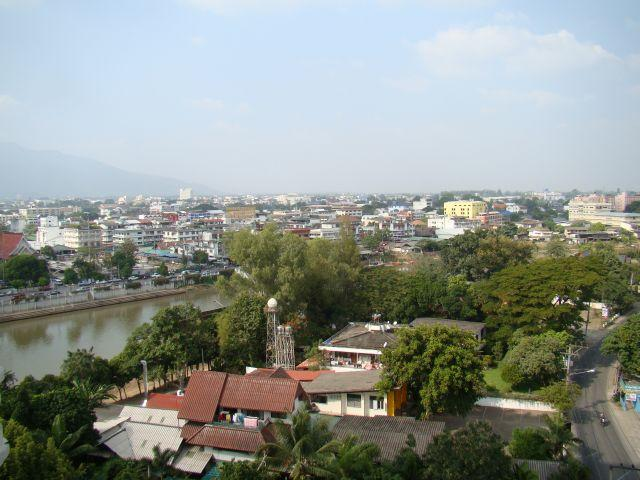 View toward the river and the wholesale market. - River Ping Balcony Condo 2brm/2bthrm US$990/mth - Chiang Mai - rentals