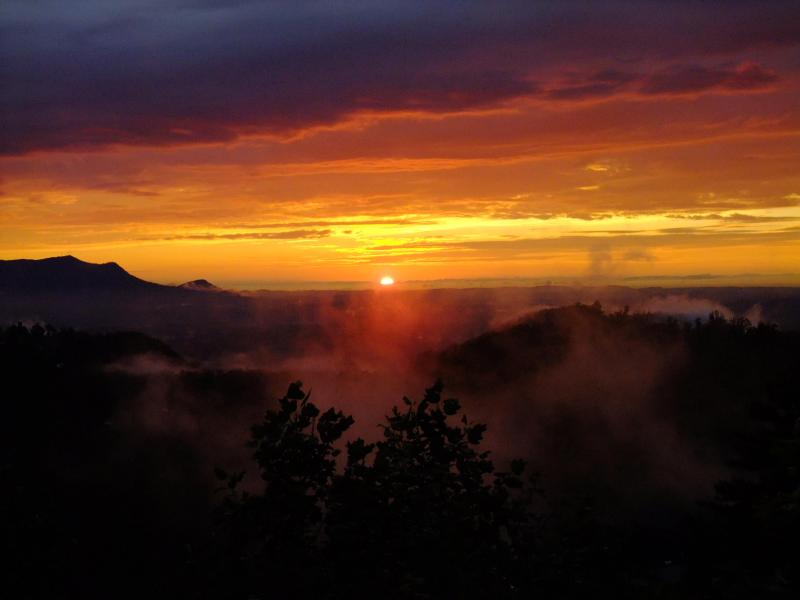 Sunset1 (looking straight out from deck) - Southern Comforts Cabin, Awesome Views & Sunsets! - Pigeon Forge - rentals