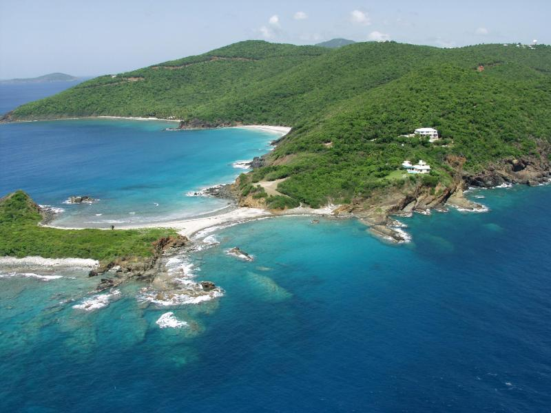Aerial view from West - Spacious oceanfront villa, stunning views & beach - Saint Thomas - rentals