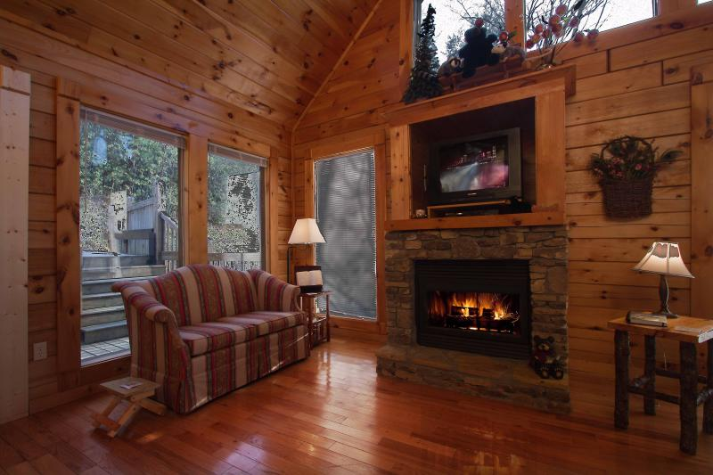 living room with gas fireplace - Gods Blessings with amazing view - Gatlinburg - rentals