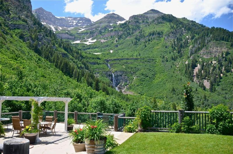 The View off the deck Mt. Timpanogos and Majestic Stewart Falls - Best View at Sundance! Waterfall in your Backyard! - Sundance - rentals
