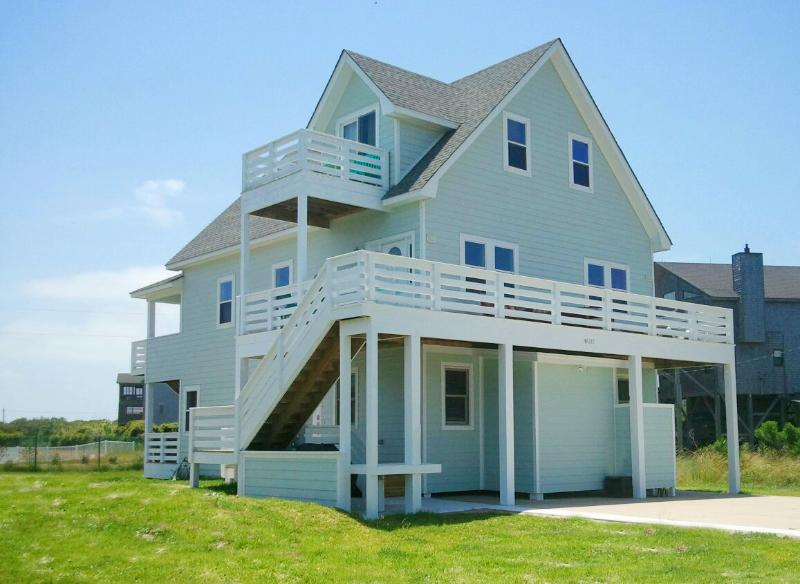 Front View of Home Featuring Expansive Furnished Decks and Ocean Views - 5BR, Luxury Amenities & Oceanfront Pool Access! - Buxton - rentals