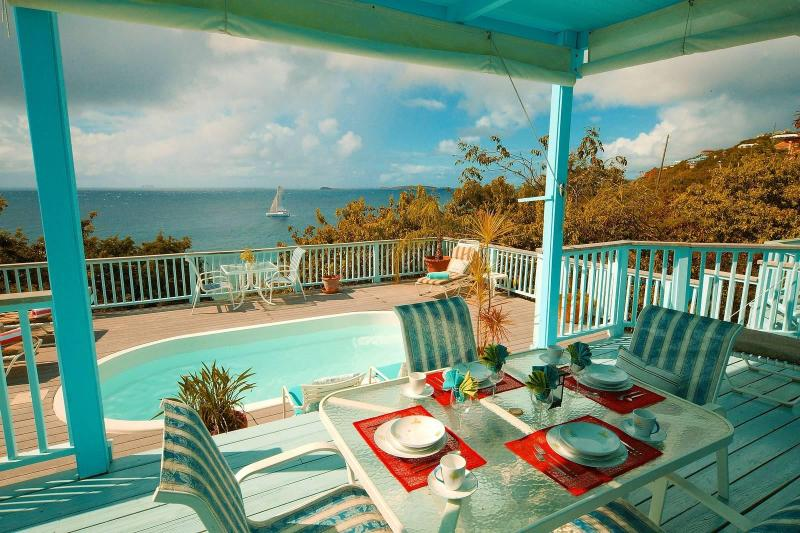 Enjoy the views of the Caribbean Sea from every room! - French Cap -2 bdm pool villa-sunsets-hear the surf below - Virgin Islands National Park - rentals