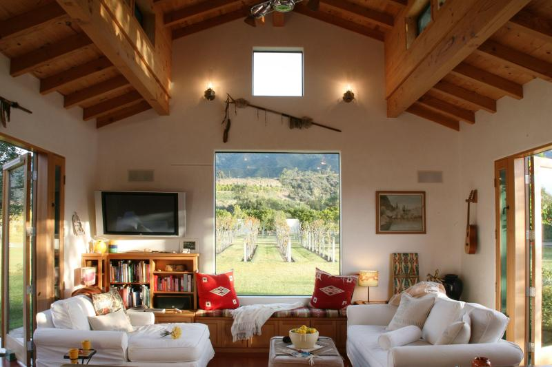 Main Living Room with picturesque window to view - Blue Heron Modern Eco Farmhouse - Ojai - rentals