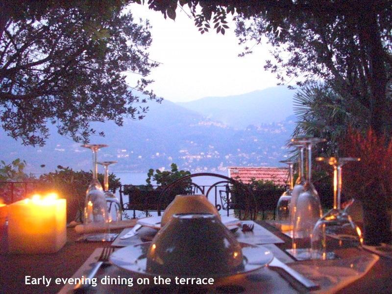 Terrace dining by candlelight - Villa Casa Fontana, Lake Como Holiday Hideaway - Carate Urio - rentals