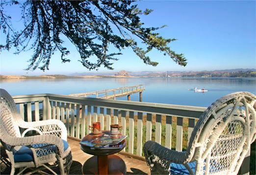 "200 degree water view from the deck featuring most of the ""9 Sisters"" & the bay - Romantic Waterfront Cottage for Two, on Morro Bay - Los Osos - rentals"