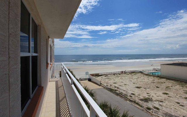 Balcony and ocean view (alternative view). - Fall $pecials- OPUS Condominium #405 - Ocean View - Daytona Beach - rentals
