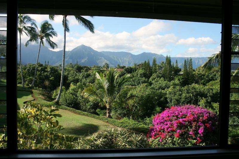 Spectacular mountain/jungle/waterfall view from dining room, kitchen, and master bedroom - 100% Renovated Luxury Condo w/Ocean/Mountain Views - Princeville - rentals
