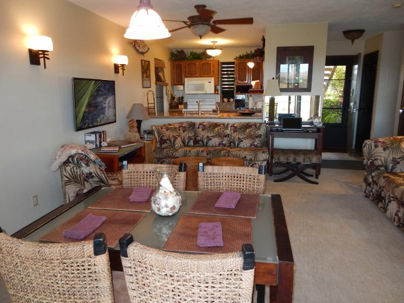"Lots of comfortable seating, most with an ocean view.  46"" Samsung Smart TV - with Internet Browsing - KE NANI KAI #115 -Ocean View-Abundantly Furnished - Maunaloa - rentals"