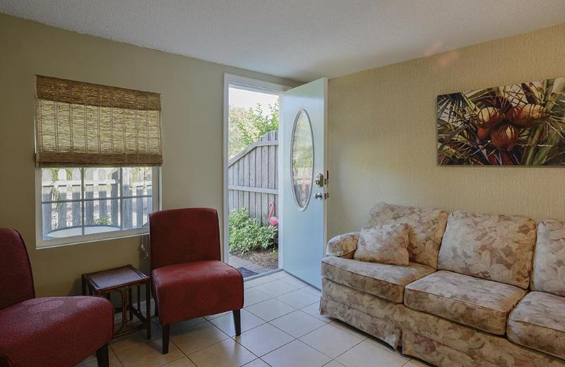 Living room - sofa is a sleeper - Funky Flamingo Cottage - 1/1 pets ok free Wifi - Gulfport - rentals