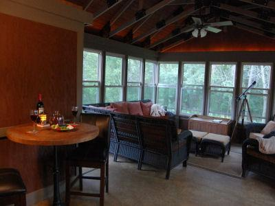 Enclosed patio, always a guest favorite. - At Harvest Home, peaceful getaway in Galena - Galena - rentals