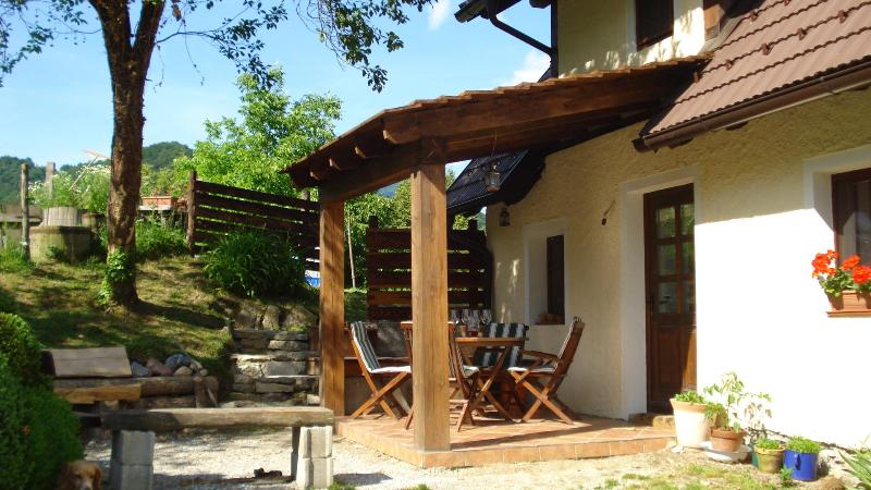 entrance apartment2 and covered terrace - Tilnik Farm Slovenia Rural Retreat Apt 2 sleeps 5 - Cerkno - rentals