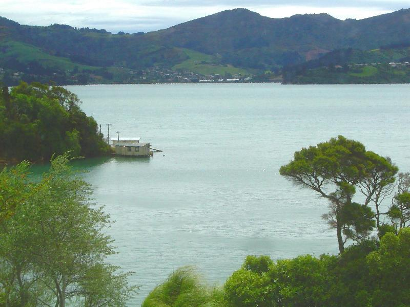 Boatshed - harbourside view from balcony. - Self contained Waterside Apartment Otago Peninsula - Dunedin - rentals