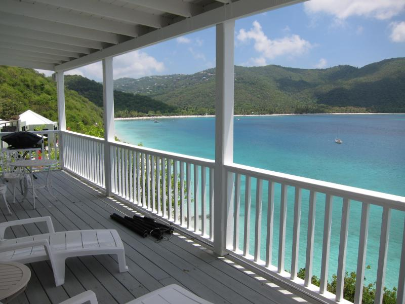 View of Magen's Bay from the deck - BEACHFRONT 1BED/1BATH condo - sleep 3 - Magens Bay - rentals