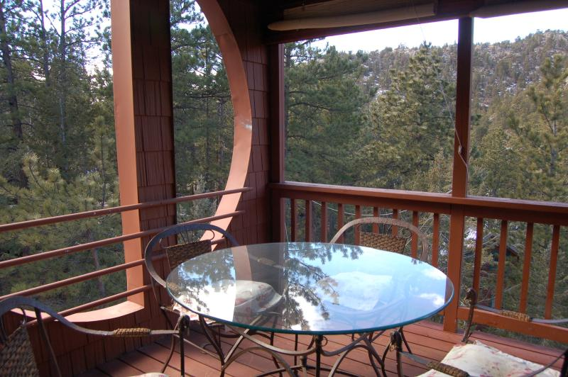 Covered Dining patio facing the lake with fabulous mountain views! - Fabulous Tree House Chalet on lake near Estes Park - Lyons - rentals