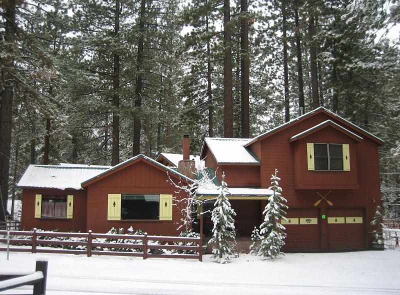Front of house in winter.  Snow removal provided. - Rhapsody at the Blue, In the Heart of North Shore - Tahoe Vista - rentals