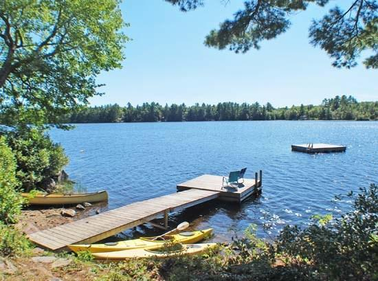 The dock, swim float, and waterfrontage - PITCHER POND COTTAGES - Town of Northport - Pitcher Pond - Northport - rentals