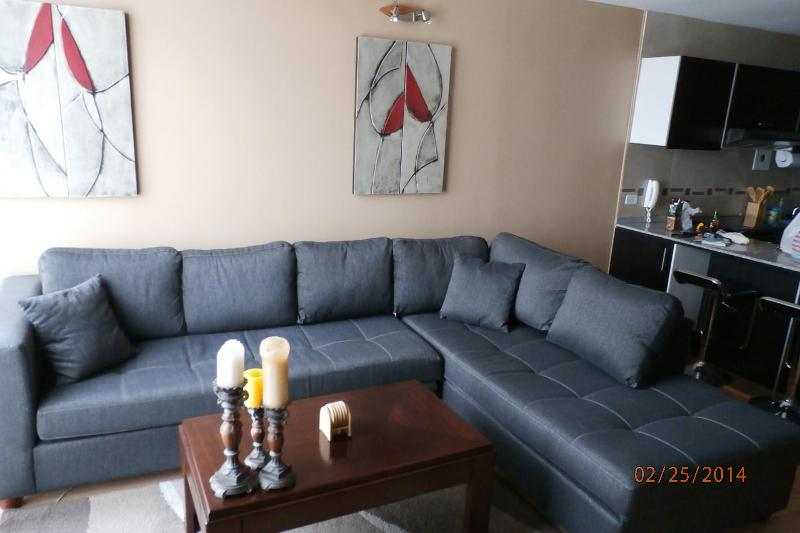Living room area with large L-shaped sofa, TV, and DVR. - Modern Spacious Luxurious Apt 6 blks to El Centro - Cuenca - rentals