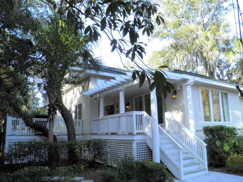Front of house from driveway - North Forest Beach, Steps to Ocean, 4 BR, 4 BA, Heated Pool - Hilton Head - rentals